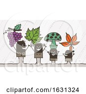 Poster, Art Print Of Black Stick Family With Grapes Leaves And Mushrooms