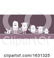 Poster, Art Print Of White Stick Family And Their Dog