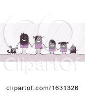 Poster, Art Print Of Black Stick Family And Their Dog