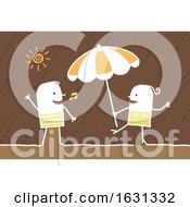 Poster, Art Print Of White Stick Couple Dancing On A Beach