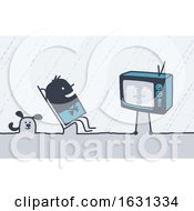 Poster, Art Print Of Black Stick Man Watching A Comedy On Tv