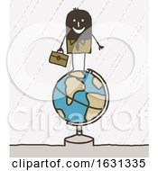 Poster, Art Print Of Black Stick Business Man On A Globe