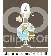 White Stick Business Man On A Globe