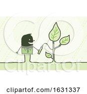 Black Stick Business Man Drawing A Plant