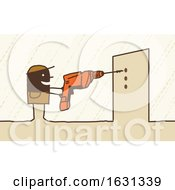 Poster, Art Print Of Black Stick Man Contractor Using A Drill