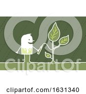 Poster, Art Print Of White Stick Business Man Drawing A Plant
