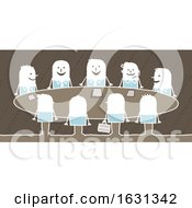 Poster, Art Print Of Group Of White Stick Business People In A Meeting