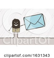 Black Stick Business Man Holding A Giant Envelope