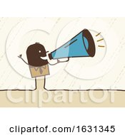Black Stick Business Man Using A Megaphone