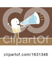 Poster, Art Print Of White Stick Business Man Using A Megaphone