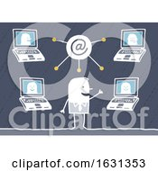Poster, Art Print Of White Stick Business Man Having Video Conferences