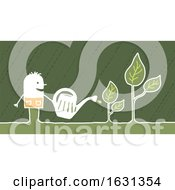 Poster, Art Print Of White Stick Man Watering Plants
