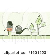 Poster, Art Print Of Black Stick Man Watering Plants