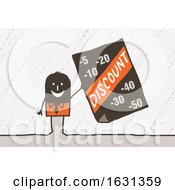 Poster, Art Print Of Black Stick Business Man Holding A Discount Sign