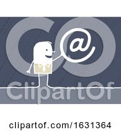White Stick Business Man Holding An Email Symbol