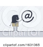 Poster, Art Print Of Black Stick Business Man Holding An Email Symbol