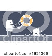 Poster, Art Print Of White Stick Man Tossing A Life Saver Buoy To A Drowning Person