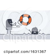 Black Stick Man Tossing A Life Saver Buoy To A Drowning Person