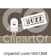 Poster, Art Print Of White Stick Business Man Holding A Buzz Sign