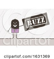 Black Stick Business Man Holding A Buzz Sign