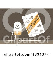 Poster, Art Print Of White Stick Business Man Holding A Discount Sign