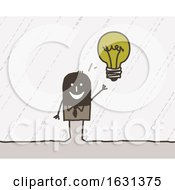 Poster, Art Print Of Black Stick Business Man With A Bright Idea