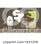 Poster, Art Print Of White Stick Business Man Holding A Dollar Puzzle Piece