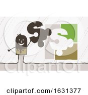 Poster, Art Print Of Black Stick Business Man Holding A Dollar Puzzle Piece