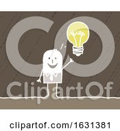 Poster, Art Print Of White Stick Business Man With A Bright Idea