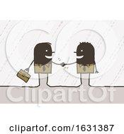 Poster, Art Print Of Black Stick Business Men Shaking Hands