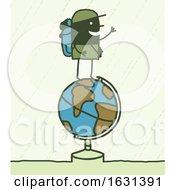 Poster, Art Print Of Black Stick Man Trekker On Top Of A Globe