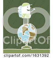 Poster, Art Print Of White Stick Man Trekker On Top Of A Globe