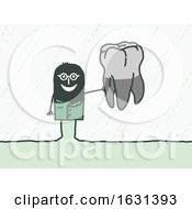 Poster, Art Print Of Black Stick Man Dentist Holding A Tooth