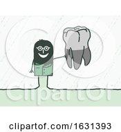 Black Stick Man Dentist Holding A Tooth