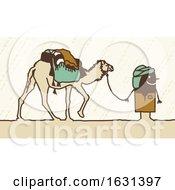 Black Stick Man Walking With A Camel