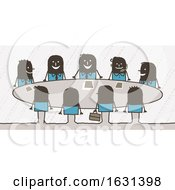 Poster, Art Print Of Group Of Black Stick Business People In A Meeting