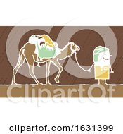 Poster, Art Print Of White Stick Man Walking With A Camel