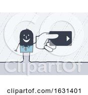Black Stick Man Holding A Hotel Room Key Or Credit Card