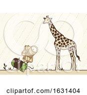 Black Stick Man Taking Pictures Of A Giraffe On A Safari