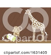 Poster, Art Print Of White Stick Man Taking Pictures Of A Giraffe On A Safari
