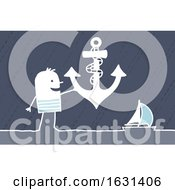 Poster, Art Print Of White Stick Man Sailor Holding An Anchor Near A Sailboat