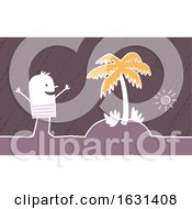 Poster, Art Print Of Happy White Stick Man Vacationing On A Tropical Island