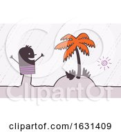 Poster, Art Print Of Happy Black Stick Man Vacationing On A Tropical Island