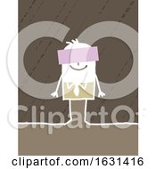 Poster, Art Print Of Happy White Stick Business Man With A Sign Over His Face