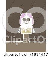 Happy White Stick Woman Wearing Sunglasses
