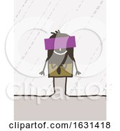 Poster, Art Print Of Happy Black Stick Business Man With A Sign Over His Face