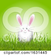 Cute Easter Egg Bunny In Grass