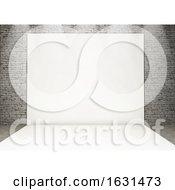 3D White Photo Back Drop In A Grunge Brick Interior
