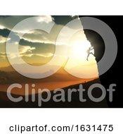 Poster, Art Print Of 3d Extreme Rock Climber Against A Sunset Landscape