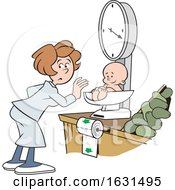 Poster, Art Print Of White Woman Weighing A Baby On A Grocery Store Scale
